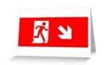 Running Man Exit Sign Greeting Card 23