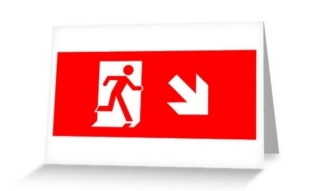 Running Man Exit Sign Greeting Card 23