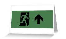 Running Man Exit Sign Greeting Card 24