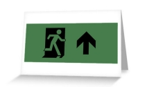 Running Man Exit Sign Greeting Card 24