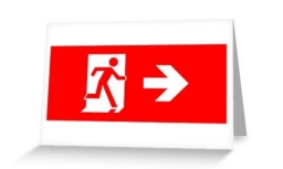 Running Man Exit Sign Greeting Card 25