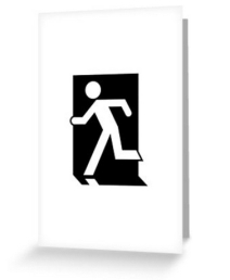 Running Man Exit Sign Greeting Card 26