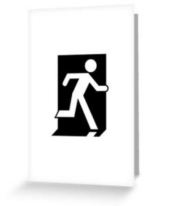 Running Man Exit Sign Greeting Card 27