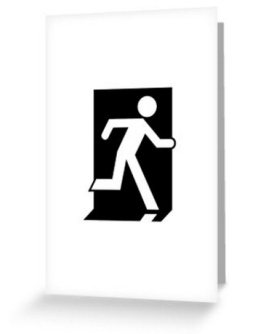 Running Man Exit Sign Greeting Card 27
