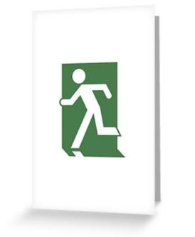 Running Man Exit Sign Greeting Card 28