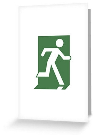 Running Man Exit Sign Greeting Card 29