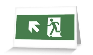 Running Man Exit Sign Greeting Card 3