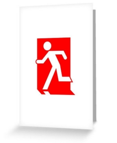 Running Man Exit Sign Greeting Card 30