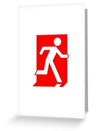Running Man Exit Sign Greeting Card 31
