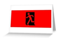 Running Man Exit Sign Greeting Card 32