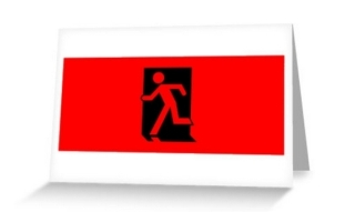 Running Man Exit Sign Greeting Card 32