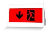 Running Man Exit Sign Greeting Card 33