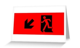 Running Man Exit Sign Greeting Card 34