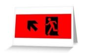 Running Man Exit Sign Greeting Card 35
