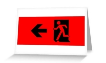 Running Man Exit Sign Greeting Card 36