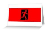 Running Man Exit Sign Greeting Card 38