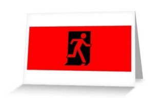 Running Man Exit Sign Greeting Card 38