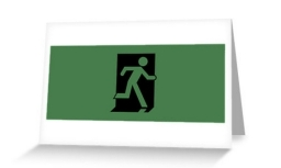 Running Man Exit Sign Greeting Card 39