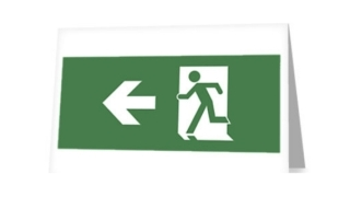 Running Man Exit Sign Greeting Card 4