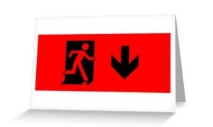 Running Man Exit Sign Greeting Card 40