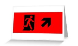 Running Man Exit Sign Greeting Card 42