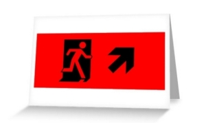 Running Man Exit Sign Greeting Card 42