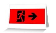 Running Man Exit Sign Greeting Card 43