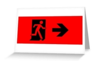 Running Man Exit Sign Greeting Card 43
