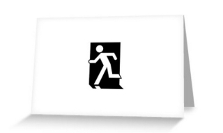 Running Man Exit Sign Greeting Card 45