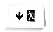 Running Man Exit Sign Greeting Card 46
