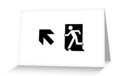 Running Man Exit Sign Greeting Card 47