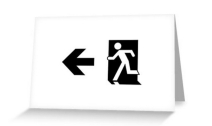Running Man Exit Sign Greeting Card 49