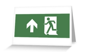 Running Man Exit Sign Greeting Card 5