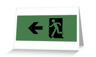Running Man Exit Sign Greeting Card 50