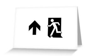 Running Man Exit Sign Greeting Card 51