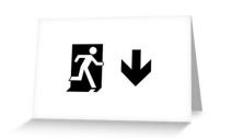 Running Man Exit Sign Greeting Card 53