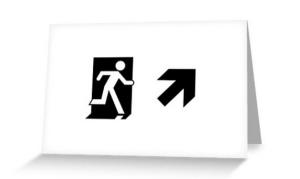 Running Man Exit Sign Greeting Card 55