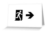 Running Man Exit Sign Greeting Card 56