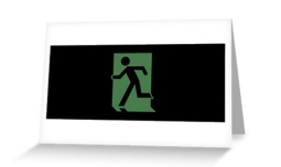 Running Man Exit Sign Greeting Card 58