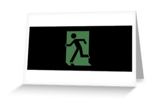 Running Man Exit Sign Greeting Card 58