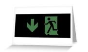 Running Man Exit Sign Greeting Card 59