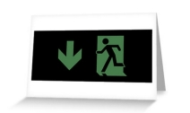 Running Man Exit Sign Greeting Card 59