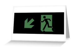 Running Man Exit Sign Greeting Card 60