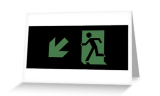 Running Man Exit Sign Greeting Card 60