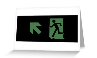 Running Man Exit Sign Greeting Card 62