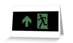 Running Man Exit Sign Greeting Card 64