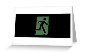Running Man Exit Sign Greeting Card 65