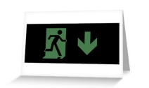Running Man Exit Sign Greeting Card 66