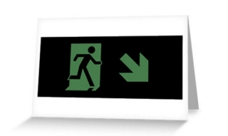 Running Man Exit Sign Greeting Card 67