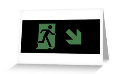 Running Man Exit Sign Greeting Card 67